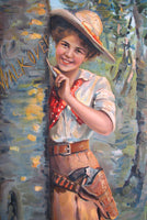 1911 Vintage Cowgirl Walk Over Shoe Antique Advertising Poster Sign