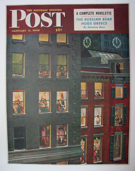 1948 John Falter NYC Apartment Dwellers New Years Sat Eve Post Poster