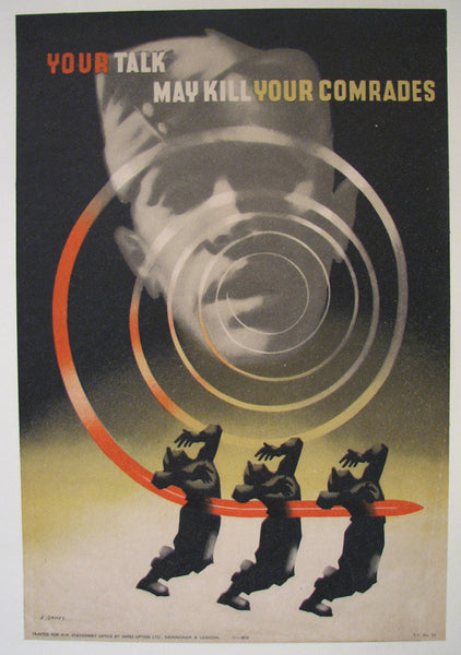 "1942 Abram Games WW2 ""Your Talk May Kill"" British Vintage Poster"