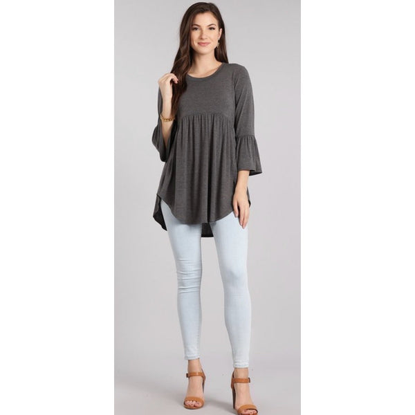 Grey Baby Doll Top