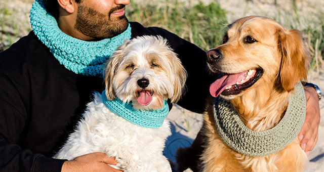 Valgray luxury dog accessory blog image for 6 Ways to Spice Up Your Daily Dog Walks With Valgray of 2 dogs and a human wearing Valgray handcrafted snood scarfs. The products in the image are the Valgray crocheted snood scarfs in Ocean Blue on a male human and small dog, and a Pepper grey snood on a large-sized dog standing in an outdoor luxury lifestyle picture.