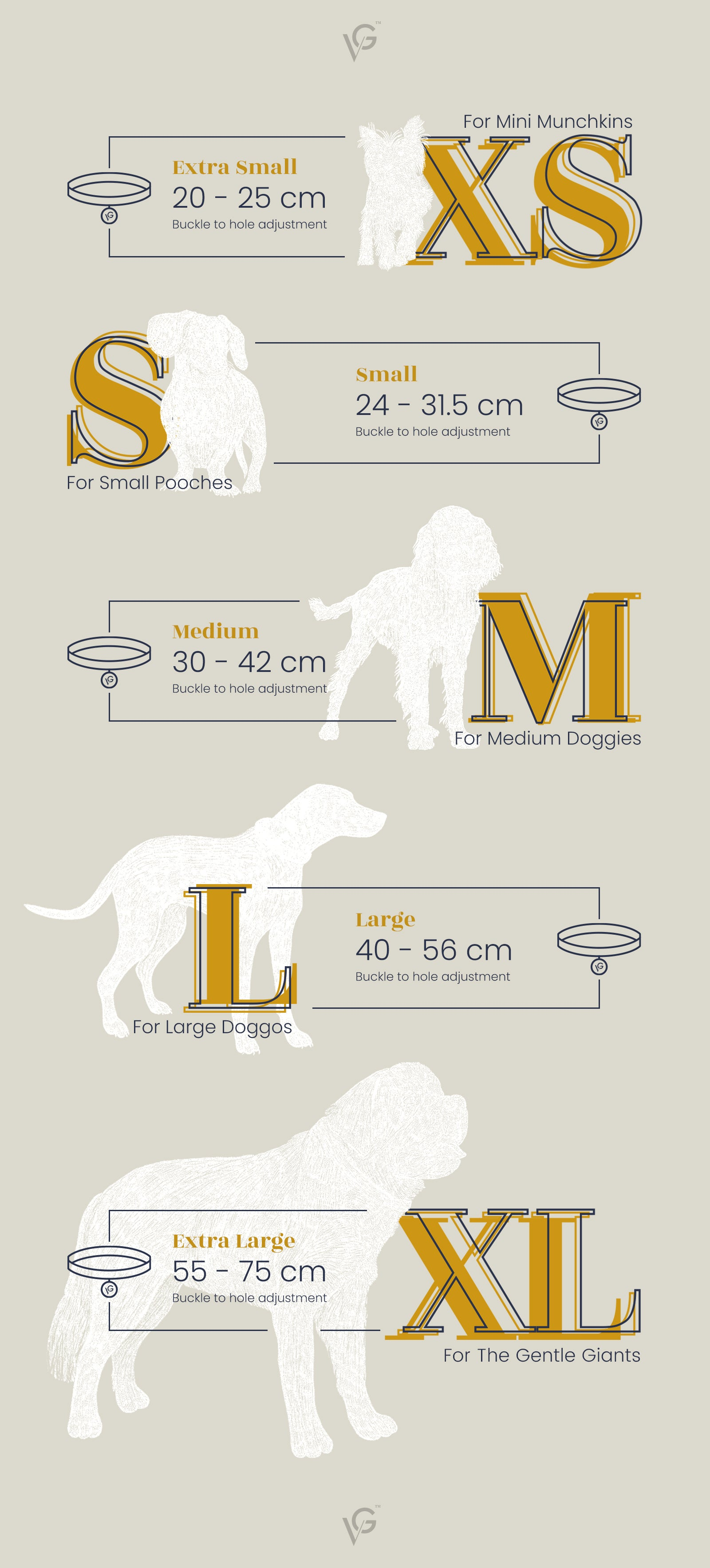 Valgray luxury dog accessory product sizing guide & sizing chart for extra large, large, medium, small and extra small dog collars. Image from The Valgray Collar Sizing Guide page.