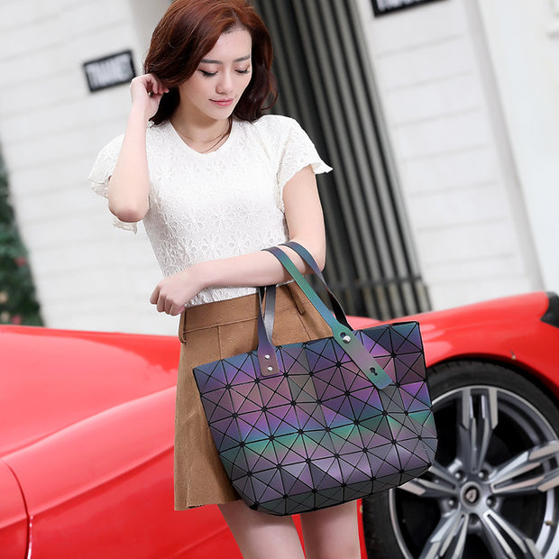 Luminous Geometric Quilted Diamond Tote