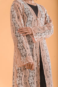 Exclusive Lace Long Cardigan with Glamorous Stone Work