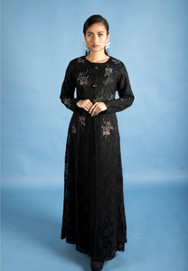 Elegant Black Lace Modern Long Dress with Intricate Stone Work
