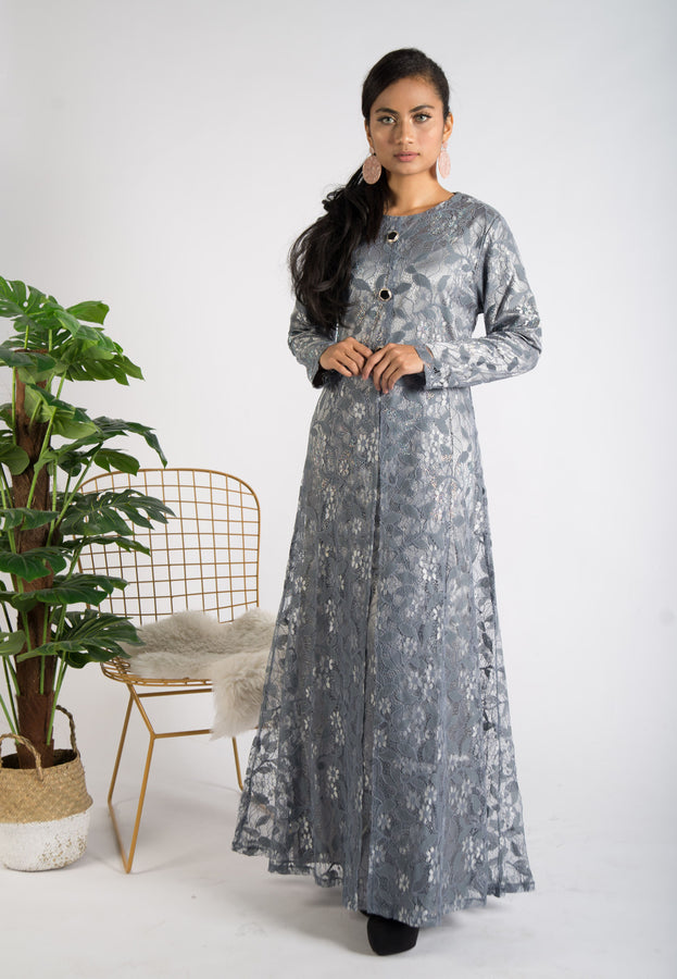 Sophisticated Grey lace Long Dress with Stone Work
