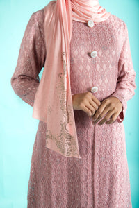 Dusty Pink Lace Long Dress with Stone Work