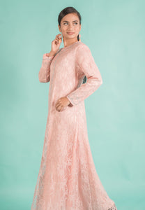 Soft Blush Pink Embellished Lace A-Line Modern Long Dress