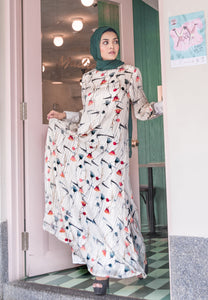 Chiffon Classic Jubah with cuff sleeves and floral print