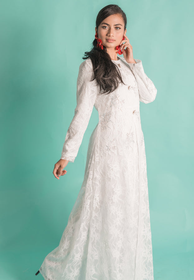 Angelic White Flowy Lace Long Dress