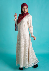 Soft Cream Classic Lace Long Dress