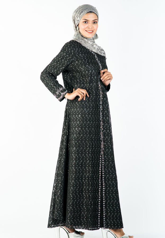 Classic Embellished Black Lace A-Line Long Dress