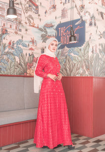 Red hot Lace A-Line Modern Long Dress with Front Slit