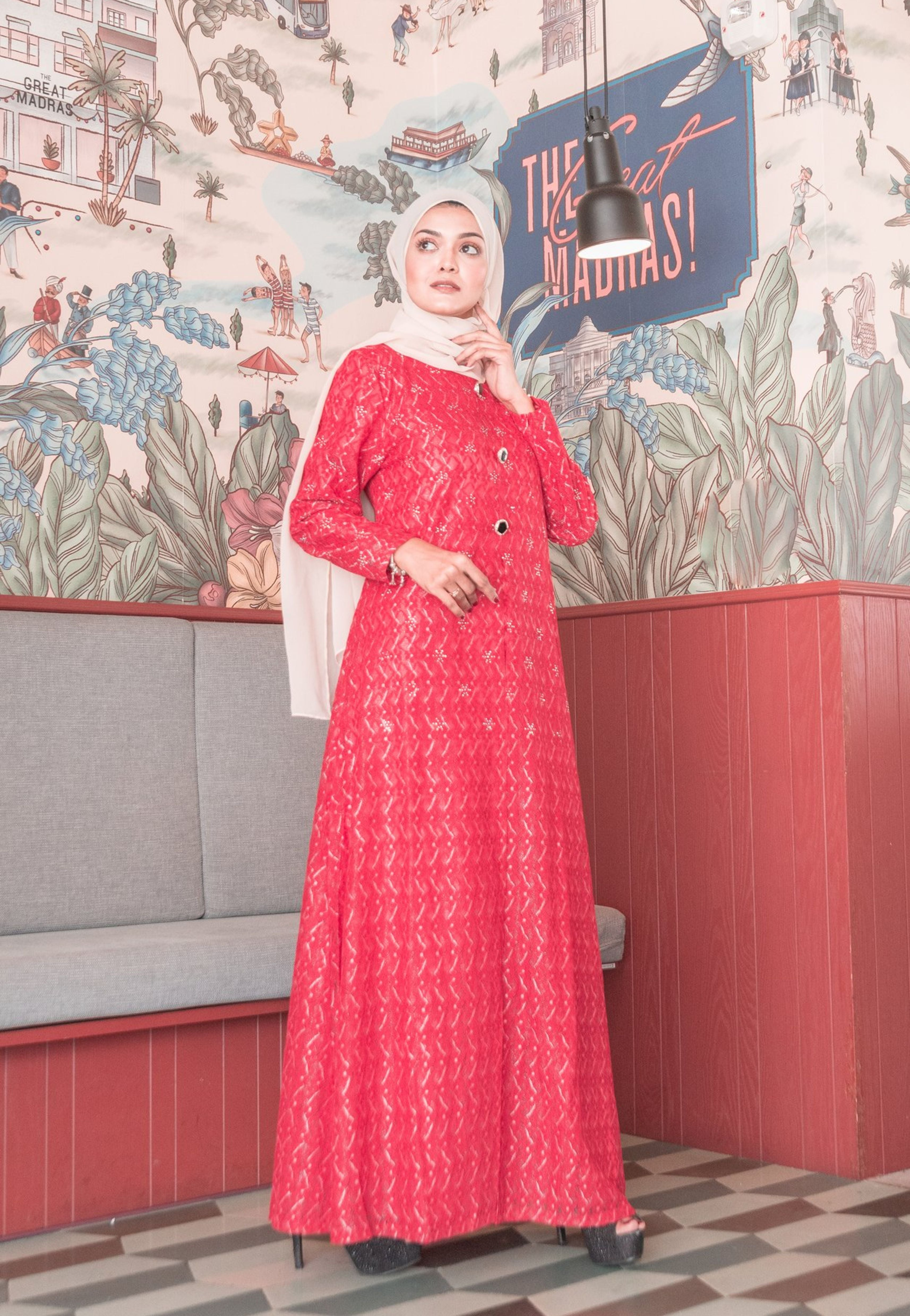 Load image into Gallery viewer, Red hot Lace A-Line Modern Long Dress with Front Slit