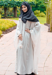 Beige Chiffon Kaftan with Black Inner and Floral Patchwork
