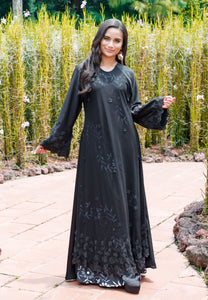 Princess-Cut Abaya with Printed Inner