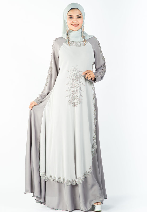 Princess-cut Abaya with Intricate Stone Work