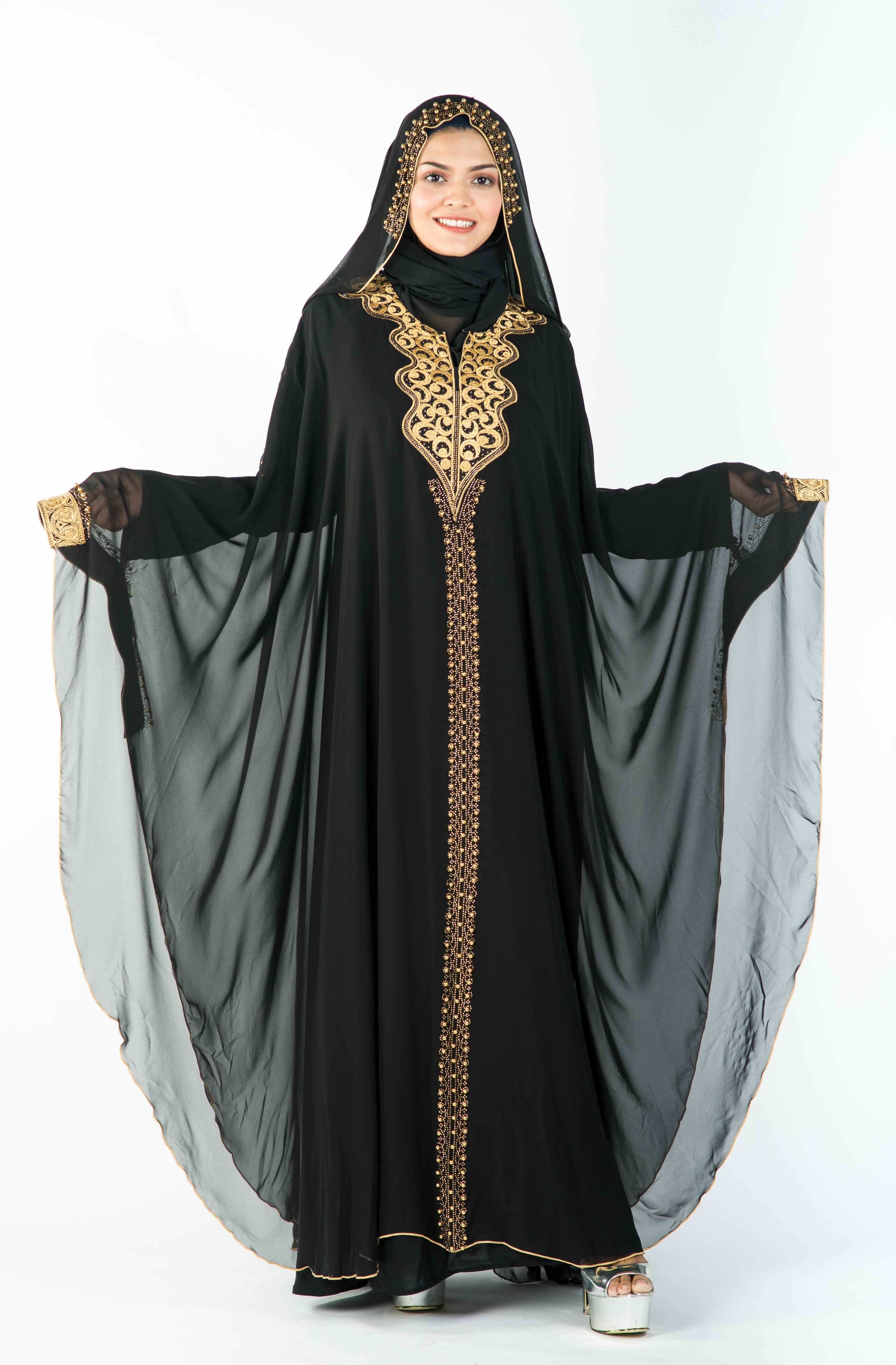 Load image into Gallery viewer, Cleopatra Kaftan with Beautiful Golden Stone Work