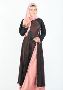 Princess Cutting Abaya in 2-tone Colour with Pink Pearls