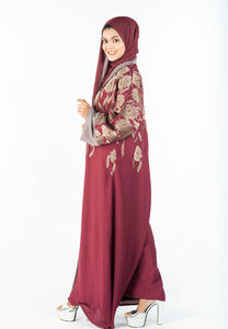 Kimono Style Abaya with Exclusive Embroidery and Front Buttons