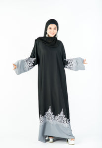 A-Line Abaya with Elegant Design on Flair