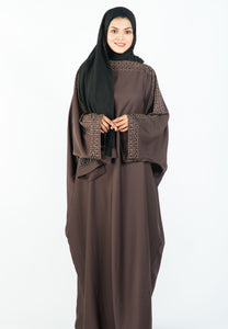 Batwing Style Kaftan with Beaded Sleeves and Neckline