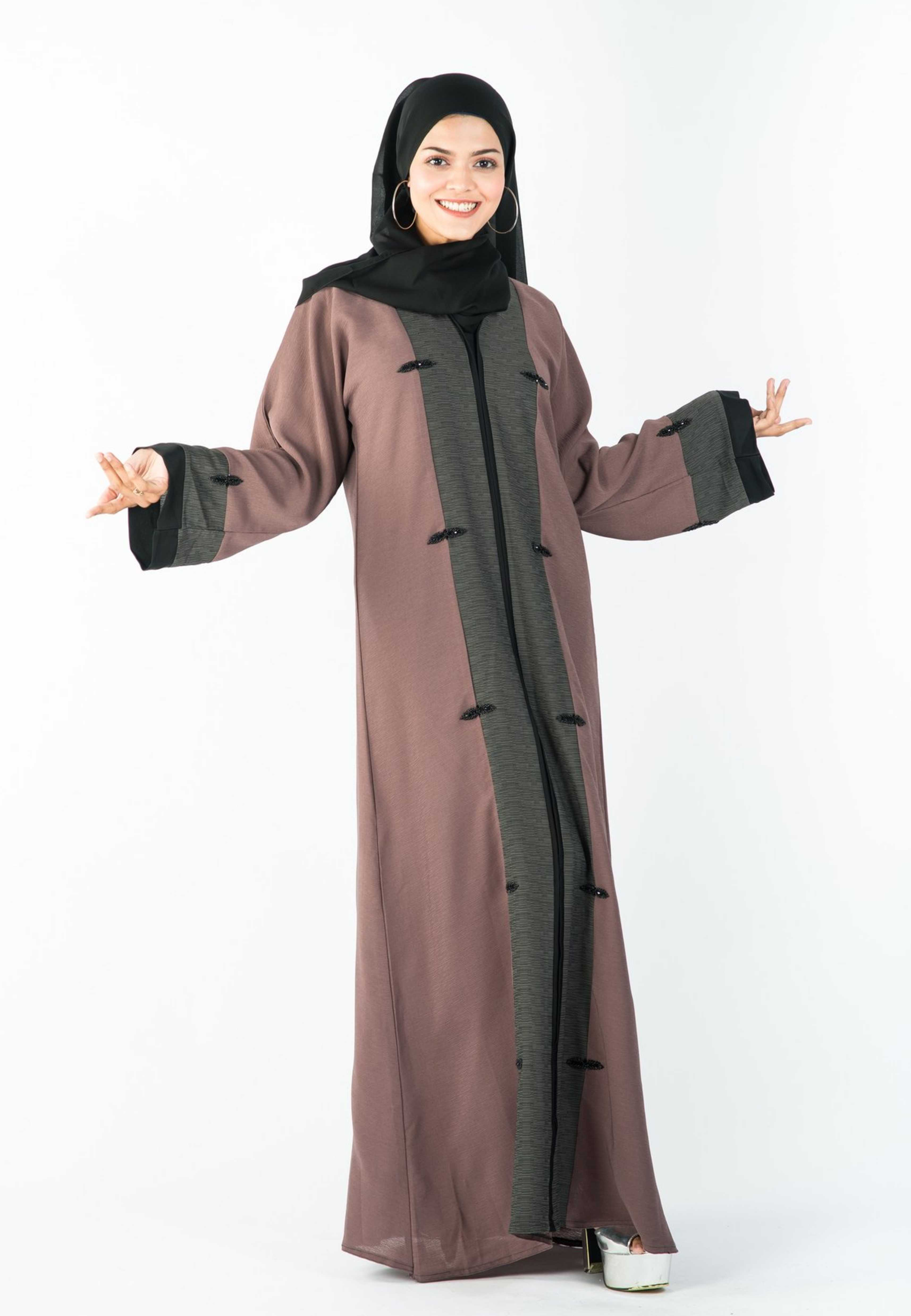 Load image into Gallery viewer, A-Line Abaya with Grey Border