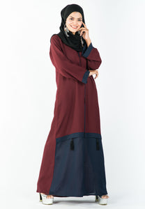A-Line Maroon Abaya with a Grey Flair