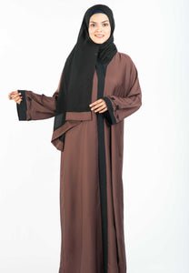 Dark Brown A-Line Abaya with Intricate Beadwork on Shoulder and Flair