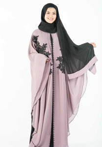 Dusty Purple with Black Inner Kaftan with Exclusive Lace Patchwork