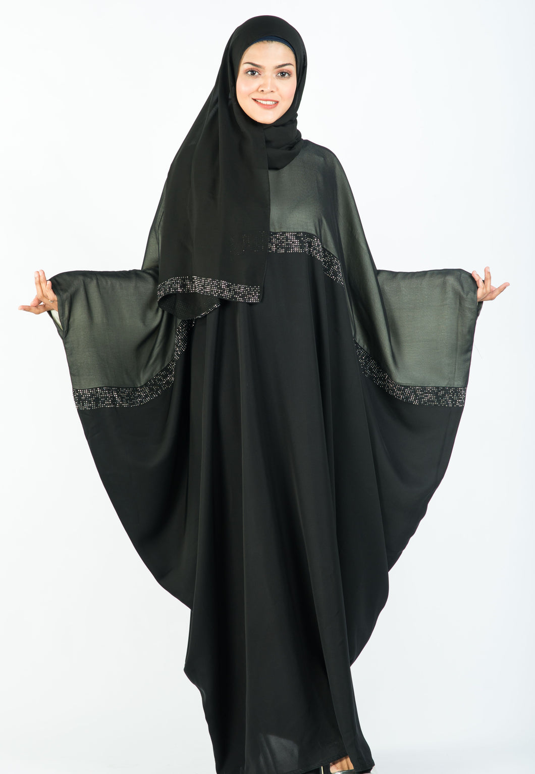 Two-tone Kaftan with Intricate Stone Work