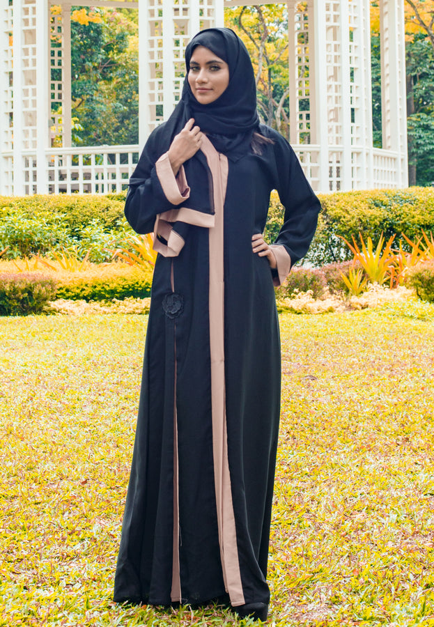 A-Line 2-tone Abaya with Front Buttons and Floral Patchwork