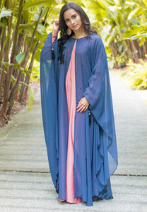 Colour Block Chiffon Kaftan with Black Floral Patchwork