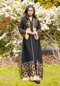 A-Line Abaya with Front Zip and Floral Lacework