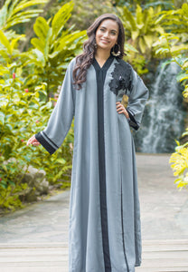 A-Line Grey Abaya with Black Floral Patchwork