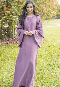 Batwing Sleeves Purple Abaya with Pearls on Sleeve