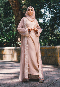Modern Earth-toned Belted Abaya with Cutwork