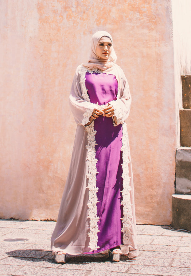 Modern Cool-toned Belted Abaya with Cutwork