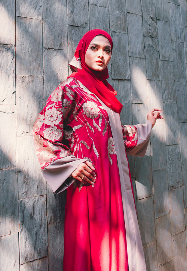 Red Hot Two-toned A-Line Abaya