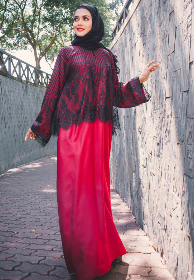 Modern Red Hot Abaya with Cape