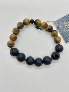 Lava + Matte Tiger Eye Stoned Bracelet