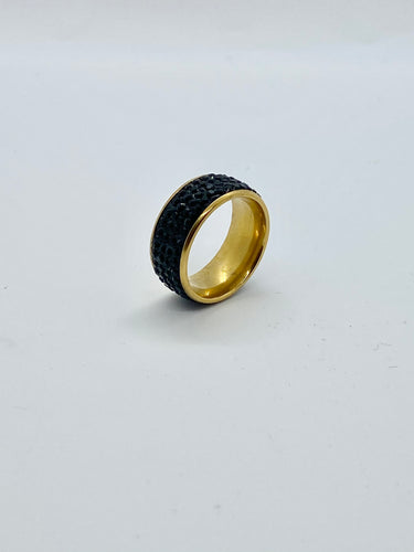 Stoned Black Titanium Gold Lined Ring