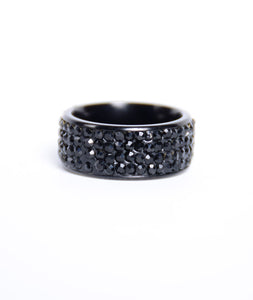 Stoned Black Titanium Rings
