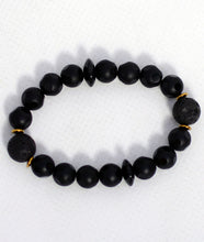 Load image into Gallery viewer, Smooth Dotted Onyx/ Lavastone Bracelet