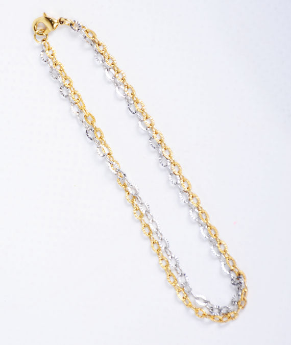 Siamise Linked White/Yellow Gold Bracelet