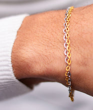 Load image into Gallery viewer, Siamise Linked White/Yellow Gold Bracelet