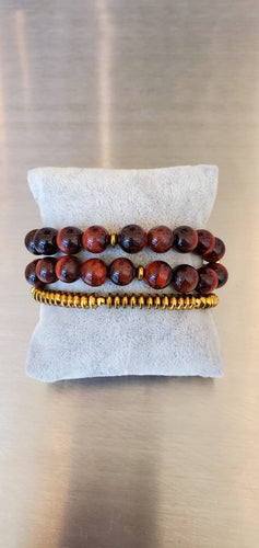 Red Tiger-Eye Trio Bracelet