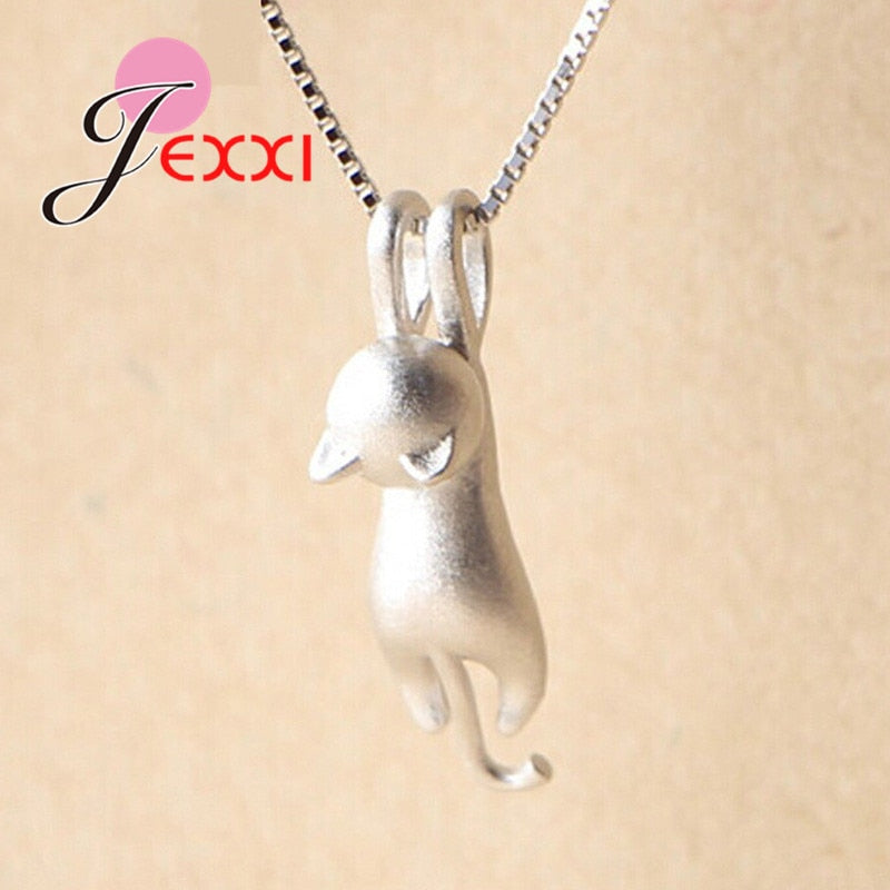 New 925 Sterling Silver Cat Pendant Chain Necklace Womens Ladies Jewellery Gift