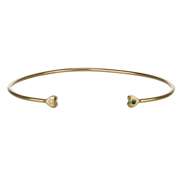 Custom Birthstone Double Heart Cuff Bracelet | Naomi Gray Jewelry