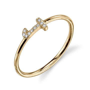 Sideways Pave Initial Ring | Naomi Gray Jewelry